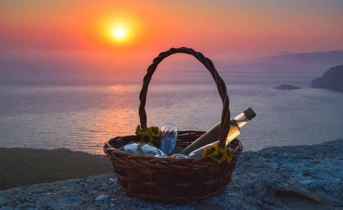 romantic sunset in Monolithos castle