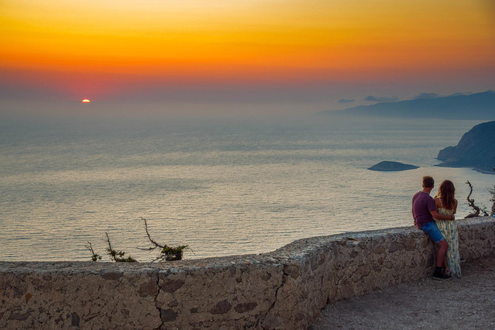 romantic sunset in Monolithos after wine tasting in Ebonas