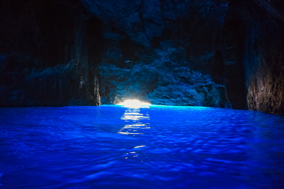 inside the blue cave in kastellorizo island