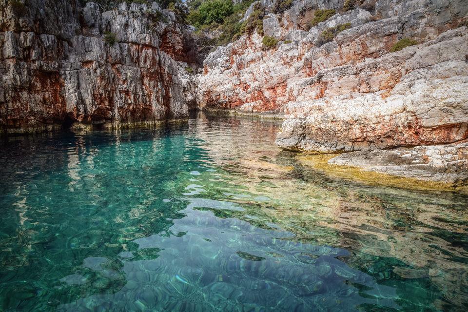 turquoise waters in navlakas bay south of kastelorizo