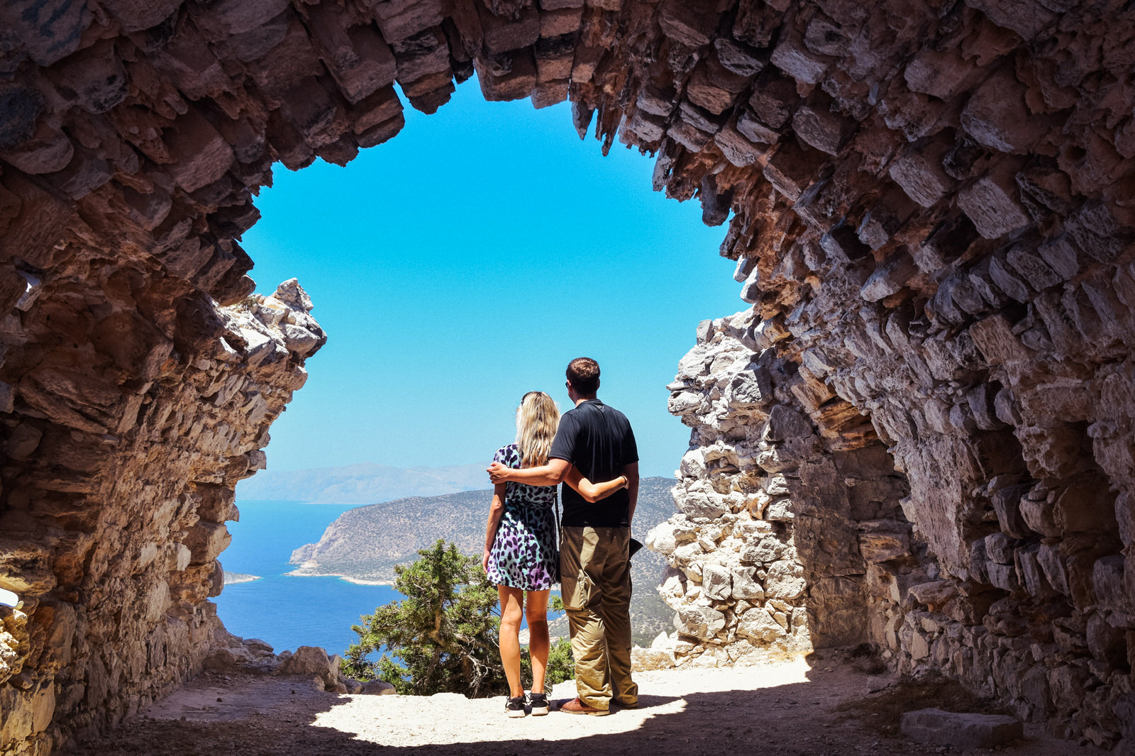 watching the amazing view from monolithos castle during private island tour