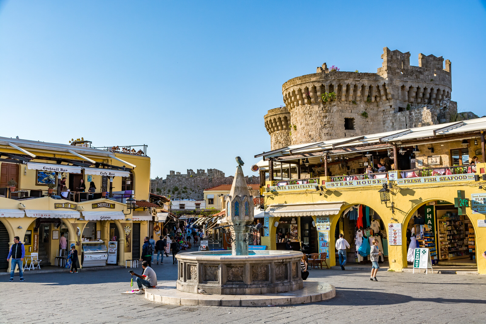 the main square of Rhodes Old town