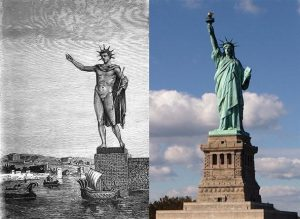 colossus of rhodes compared to liberty statue