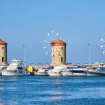 windmills in mandraki harbor of rhodes town